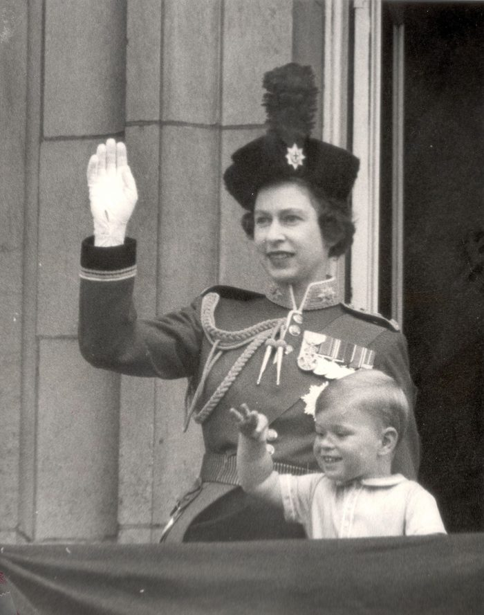 Queen Elizabeth II Prince Andrew On The Balcony Of Buckingham Palace After Trooping The Colour Ceremony. 1962.