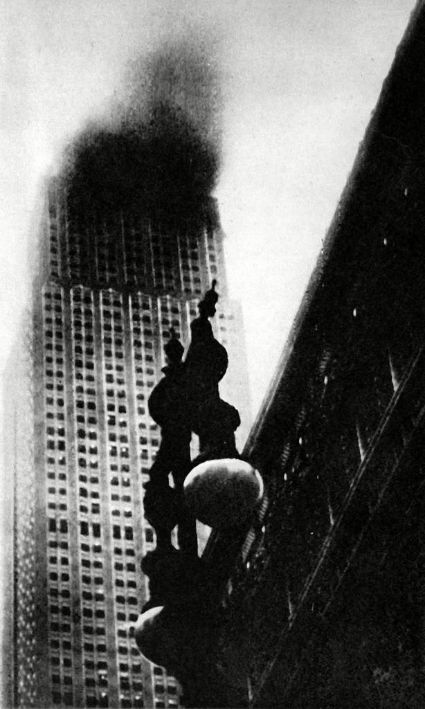 The Empire State Building, New York, On Fire, 1945.