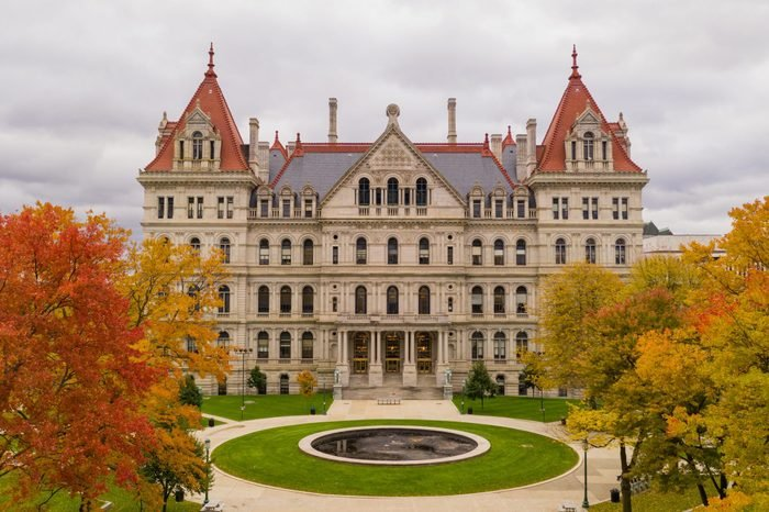 Its a crisp cold day in Albany New York downtown at the statehouse in the aerial view