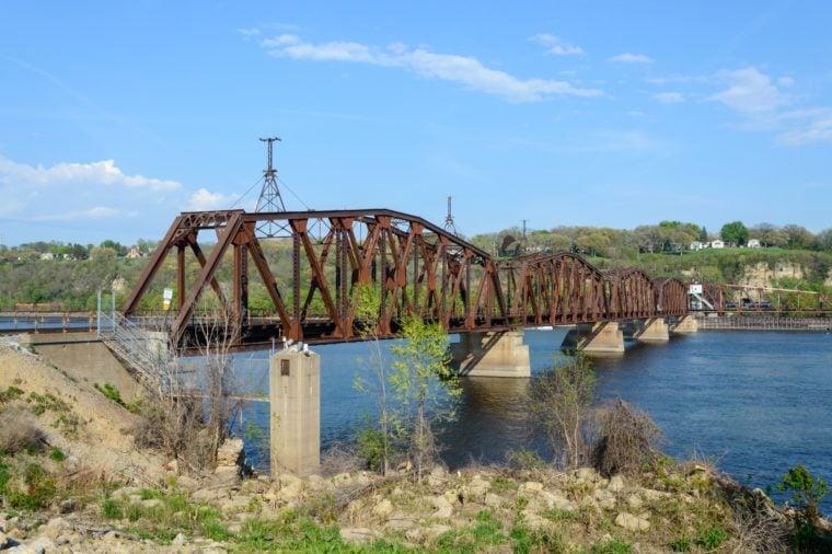 An old railway bridge over Mississippi river, Dubuque Iowa