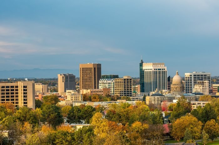 Autumn view of the Boise Idaho skyline