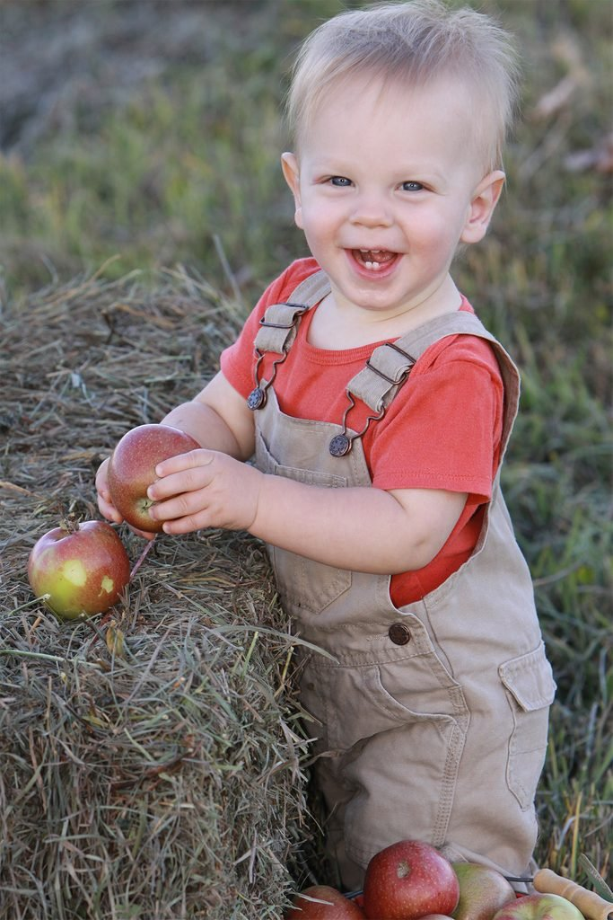little boy in overalls with apples and haystack