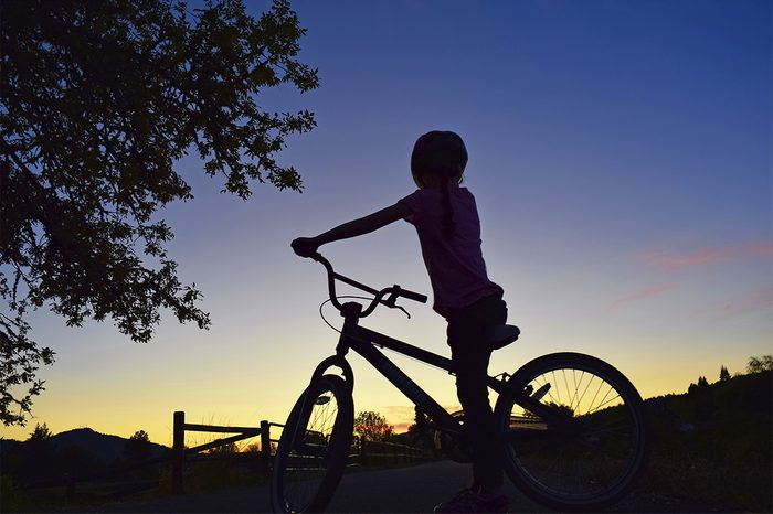 Sunset Silhouette evening bike ride