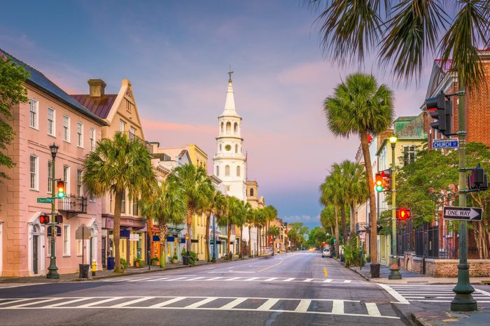 Charleston, South Carolina, USA cityscape in the historic French Quarter.