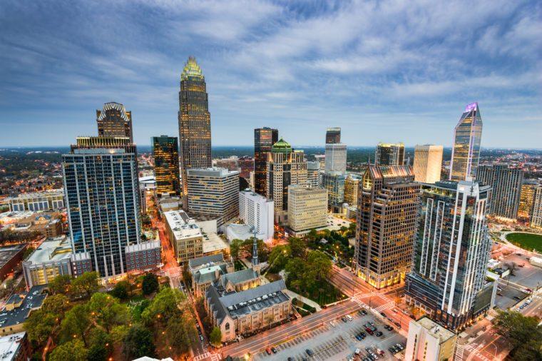 Charlotte, North Carolina, USA uptown cityscape.