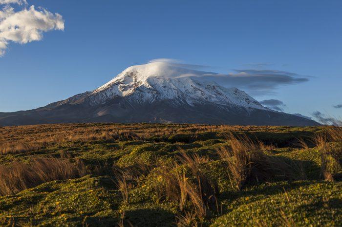 Extinct volcano Chimborazo, at sunset, the highest of Ecuador