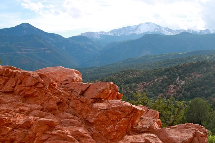 View of Pikes Peak from Garden of the Gods Park in Colorado Springs, Colorado