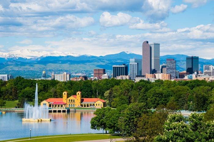 Denver Colorado downtown with City Park