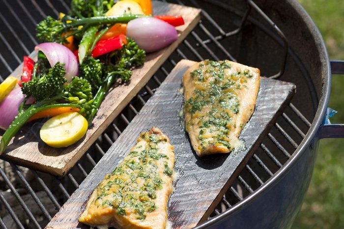 plank grilled salmon