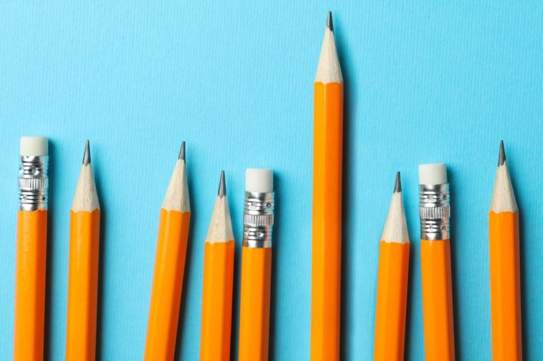 pencils. one stands higher than the rest.