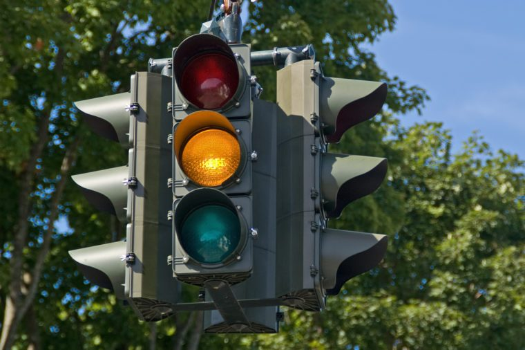 yellow stop light