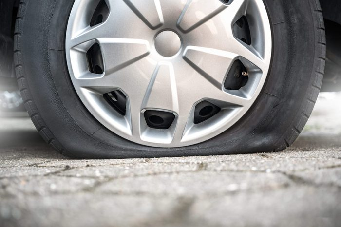 flat tire blown out tire