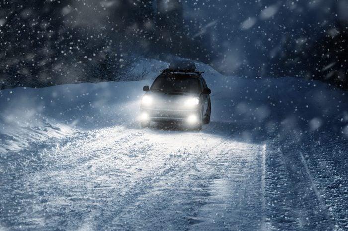 snowy ice car
