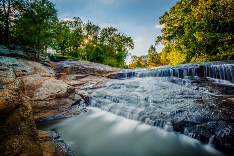 Waterfall at the Falls Park on the Reedy, in Greenville, South Carolina.