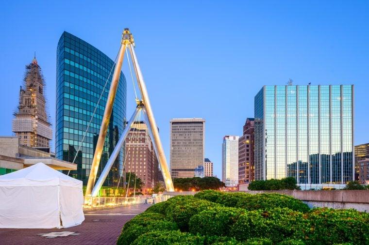 Hartford, Connecticut, USA skyline from Founders Bridge.