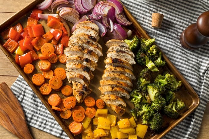Homemade Keto Sheet Pan Chicken with Rainbow Vegetables
