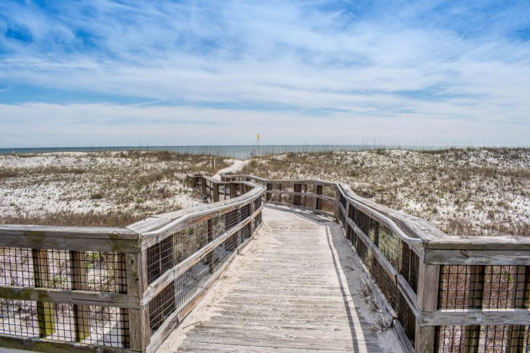 A very long boardwalk surrounded by shrubs in Perdido Key State Park, Florida