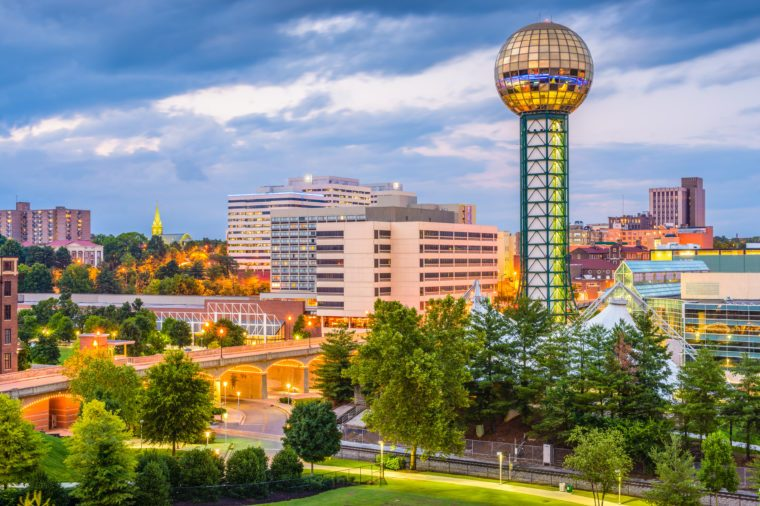Knoxville, Tennessee, USA downtown skyline at twilight.
