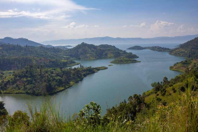 Lake Kivu, one of the largest of the African Great Lakes, In Rwanda