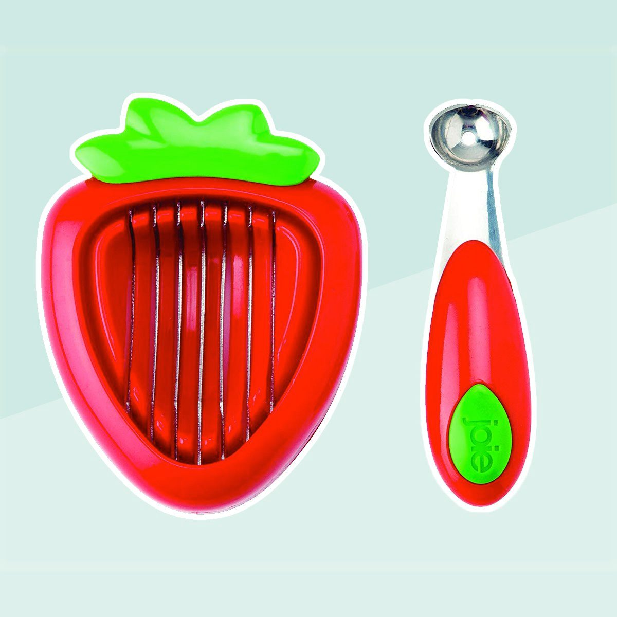 MSC International 87312 Joie Strawberry Hull and Slice, BPA free, FDA approved 2-Piece Set Red