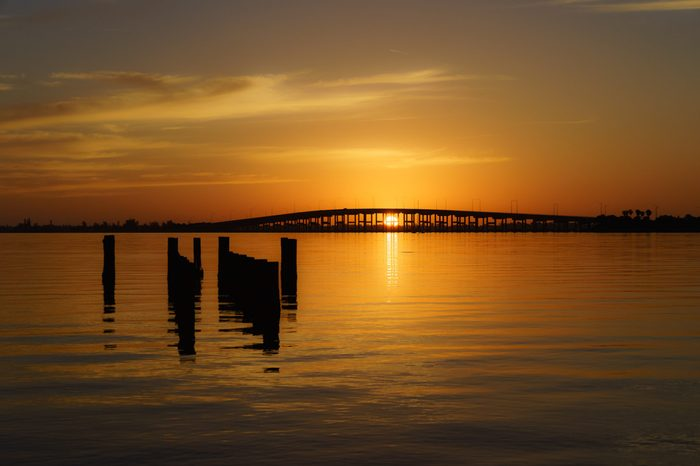 The Sunrise at the Melbourne Causeway Connecting Melbourne Florida to the Beaches on the Barrier Island