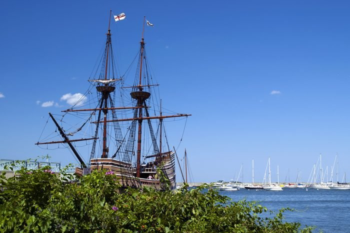 Replica of the ship the first settlers came over on is a popular attraction in Plymouth, Massachusetts.