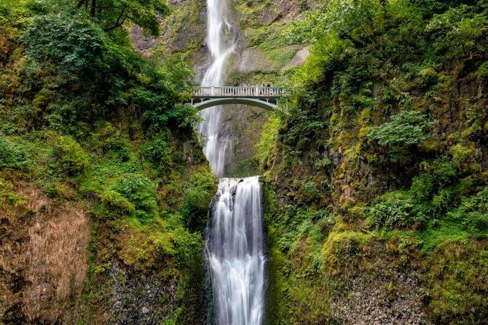 Multnomah Falls in the Columbia River Gorge near Portland Oregon.
