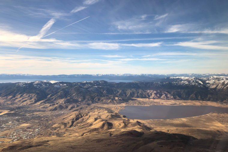 aerial view of Lake Tahoe and Washoe Lake outside of Reno, Nevada