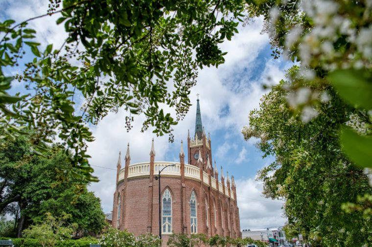 Saint Mary Basilica Framed by Trees in Natchez Mississippi
