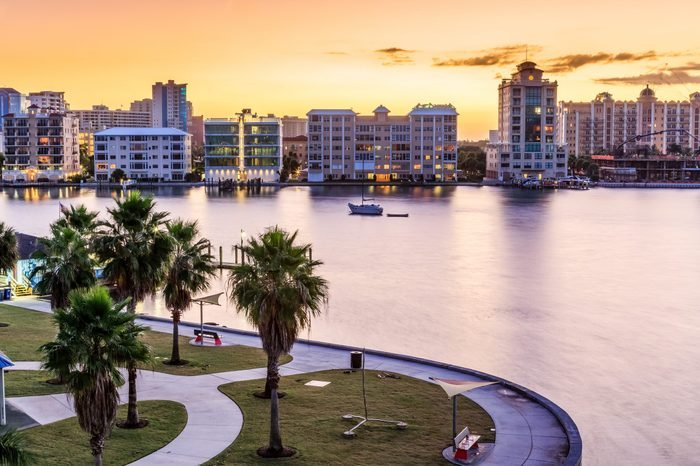 Sarasota skyline at dawn with orange sky