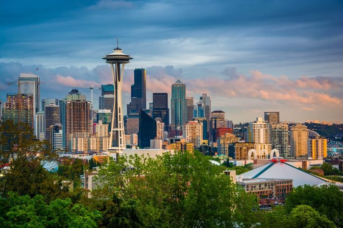Sunset view of the Seattle skyline from Kerry Park, in Seattle, Washington.