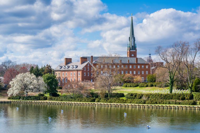 Spa Creek and St. Mary's Church, in Annapolis, Maryland.