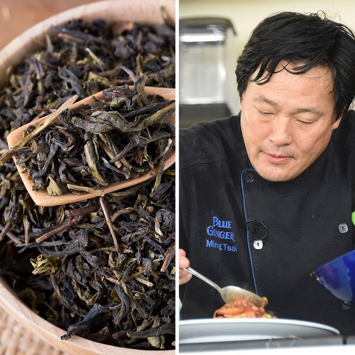 dry tea leaves in wooden bowl and wooden spoon on wooden background; Shutterstock ID 434088499; Job (TFH, TOH, RD, BNB, CWM, CM): TOH Mandatory Credit: Photo by Invision/AP/REX/Shutterstock (9241443cf) Ming Tsai hosts the South Beach Wine & Food Festival - Goya Foods' Grand Tasting Village KitchenAid Culinary Demonstration on 13th Street & Ocean Drive, in Miami Beach, Fla 2017 South Beach Wine and Food Festival, Miami, USA - 25 Feb 2017