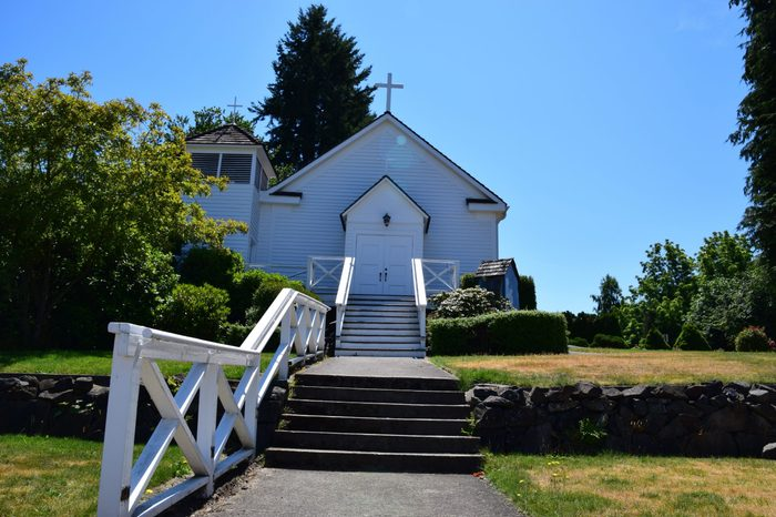 Immaculate Conception, one of the first churches to be erected in Washington Territory in 1855 by Soldiers at Fort Steilacoom. It was moved to Steilacoom city in 1864. Picture taken on 14 July 2017.