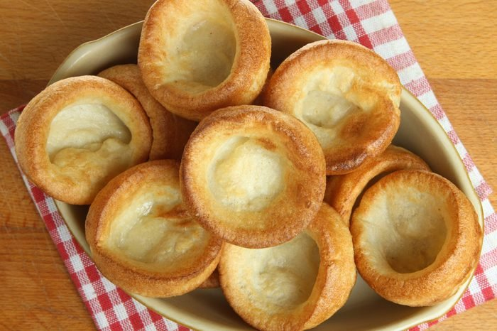 Yorkshire puddings in serving dish