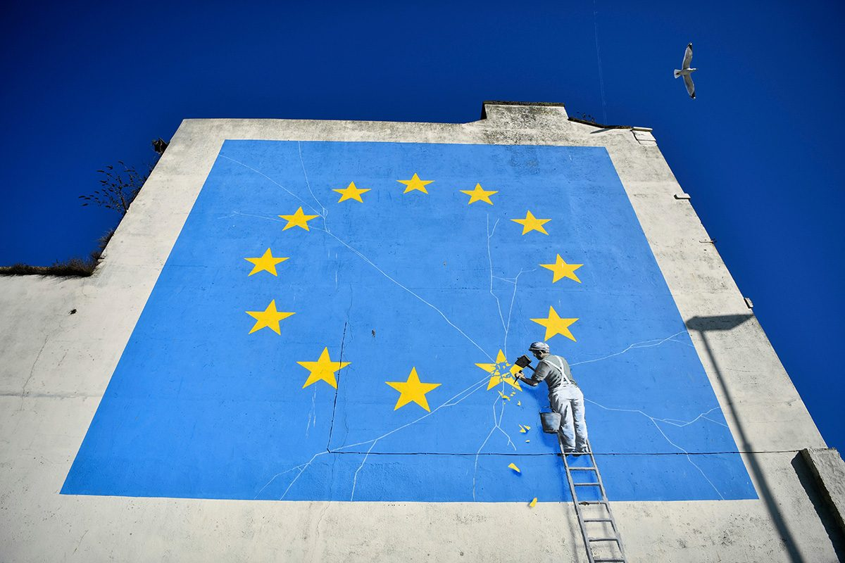 Brexit inspired mural by anonymous British street artist Banksy