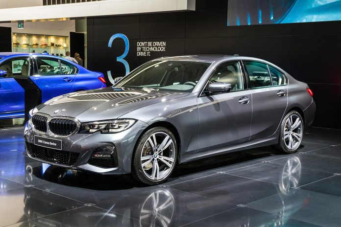 BRUSSELS - JAN 18, 2019: New BMW 3 Series Berline car at the 97th Brussels Motor Show 2019 Autosalon