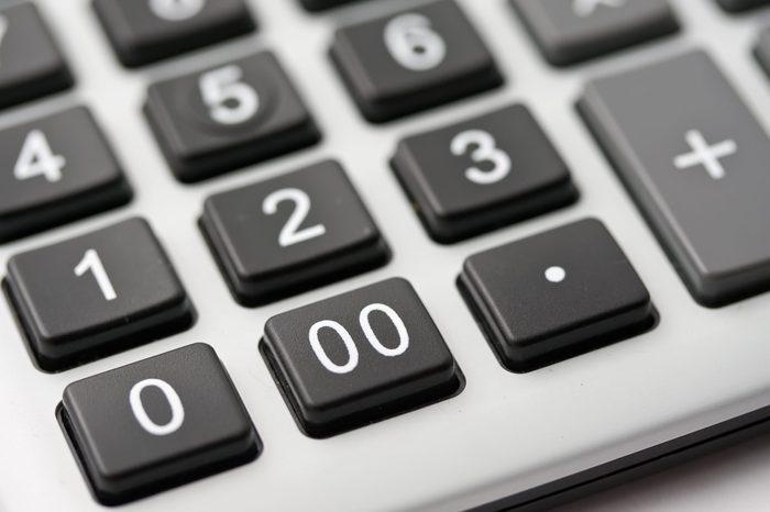 Calculator keys extreme close up