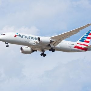 Chicago, USA - September 22, 2017: An American Airlines Boeing 787 aircraft landing at O'Hare International Airport.