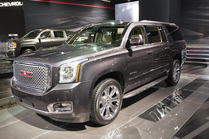 DETROIT, MI, USA - JANUARY 12, 2015: GMC Yukon on display during the 2015 Detroit International Auto Show at the COBO Center in downtown Detroit.