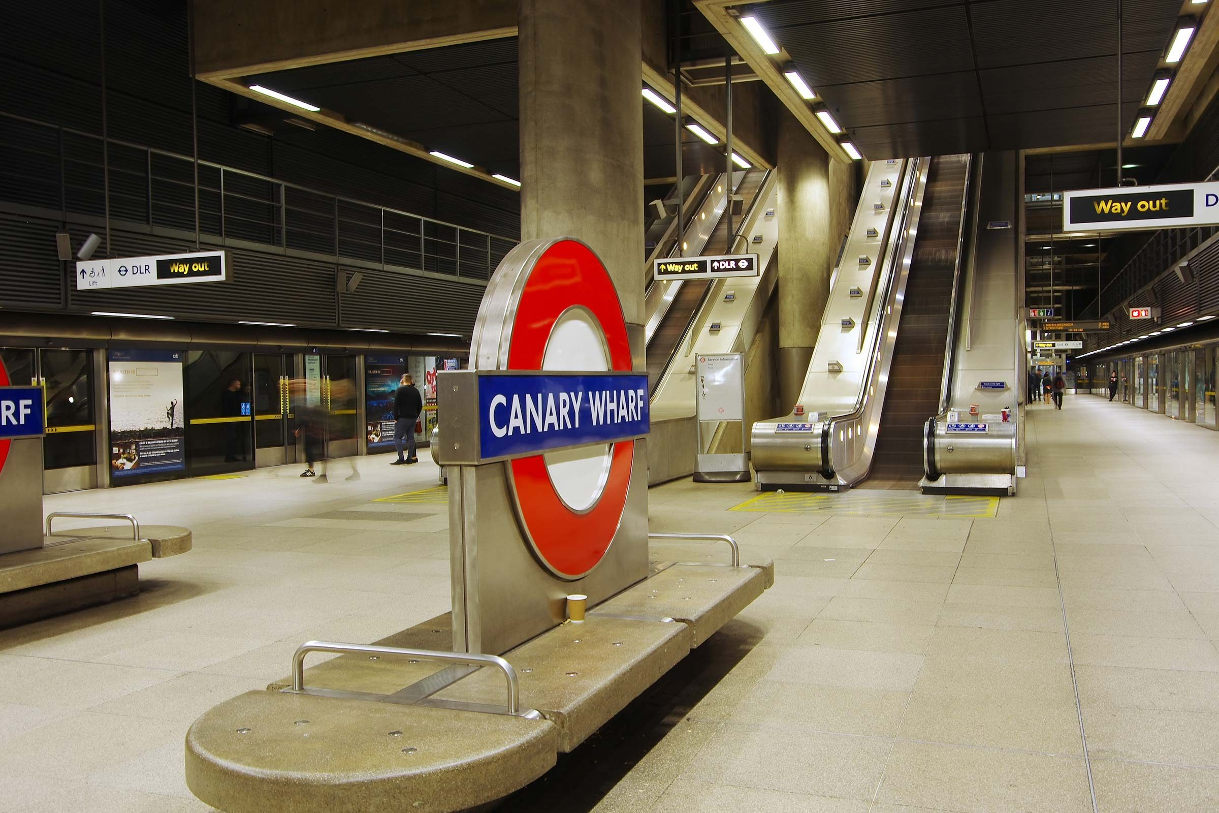 The underground station of Canary Wharf. Canary Wharf is a new directional district built on the old docks.