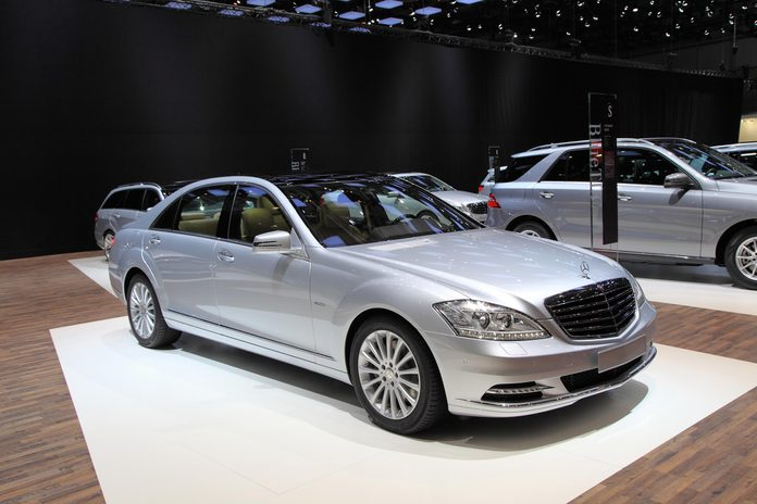 GENEVA - MARCH 8: A mercedes benz Classe S car on display at 82th International Motor Show Palexpo-Geneva on March 8, 2012 in Geneva, Switzerland.