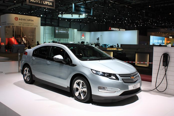GENEVA, SWITZERLAND - MARCH 3 : A Chevrolet VOLT car on display at 81th International Motor Show Palexpo-Geneva on March 3, 2010 in Geneva, Switzerland.