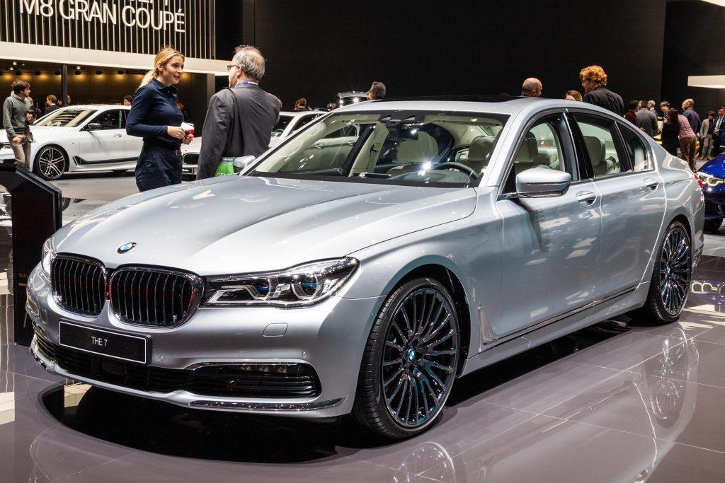 GENEVA, SWITZERLAND - MARCH 7, 2018: New BMW 7-series car showcased at the 88th Geneva International Motor Show.