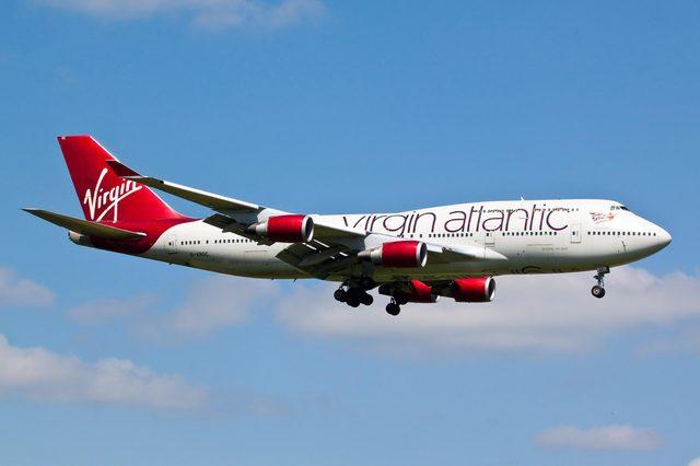 HEATHROW, LONDON, UK - MAY 3: Virgin Atlantic Airways Boeing 747 (G-VROC) landing on May 3, 2014 at London Heathrow Airport, London, UK.
