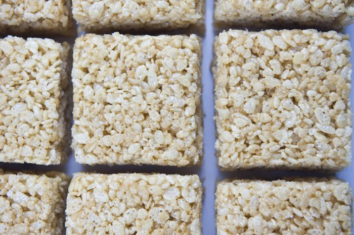 Rice marshmallow treats on plate