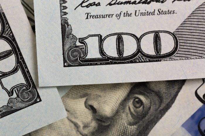 US hundred Dollar elements , super macro, close up photo
