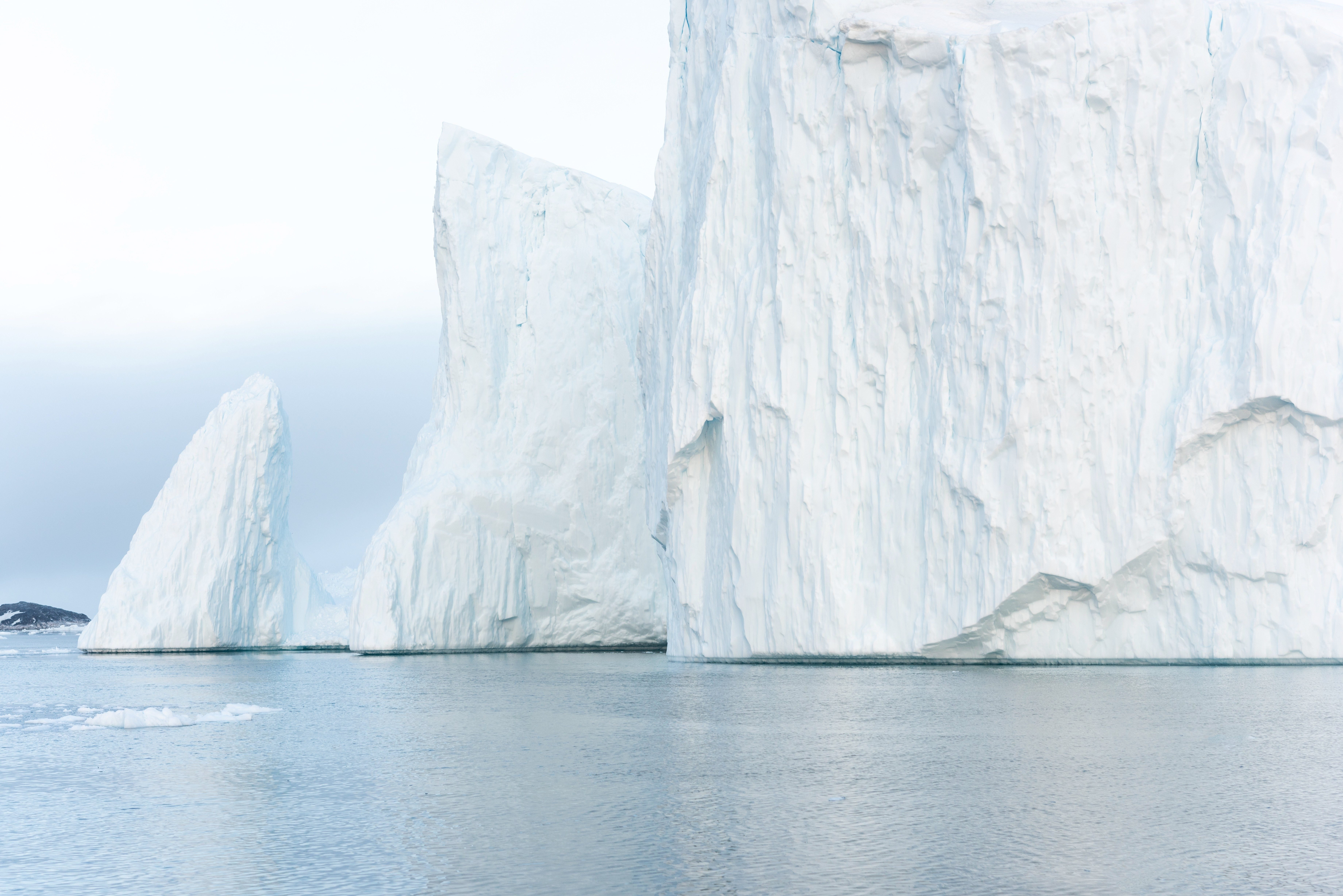 Arctic Icebergs on Arctic Ocean in Greenland