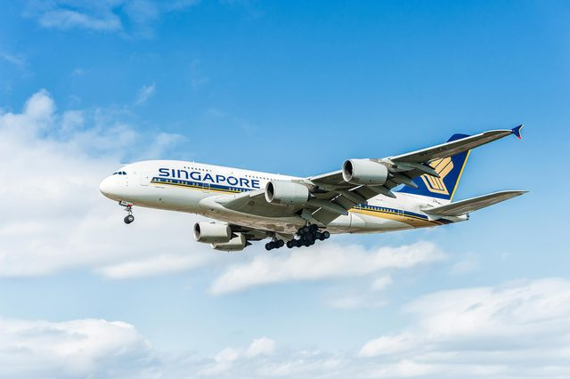 LONDON, ENGLAND - AUGUST 22, 2016: 9V-SKB Singapore Airlines Airbus A380 Landing in Heathrow Airport, London.