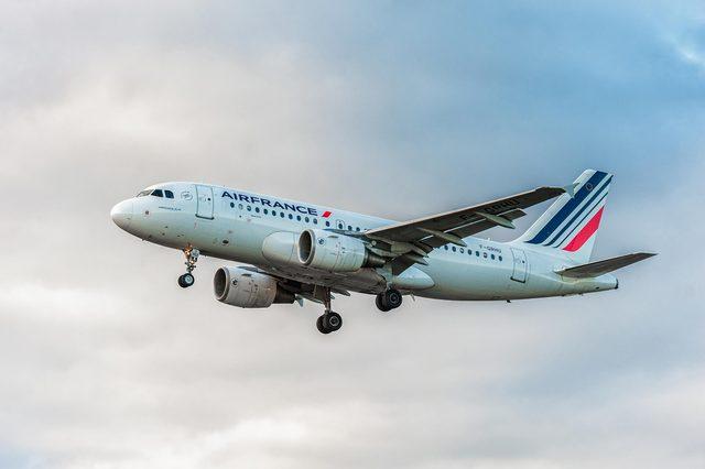 LONDON, ENGLAND - AUGUST 22, 2016: F-GRHU Air France Airbus A319 Landing in Heathrow Airport, London.